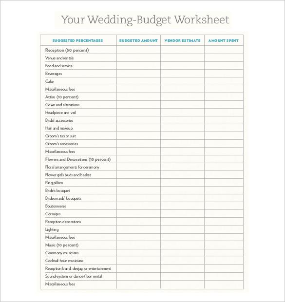 sample wedding budget nz