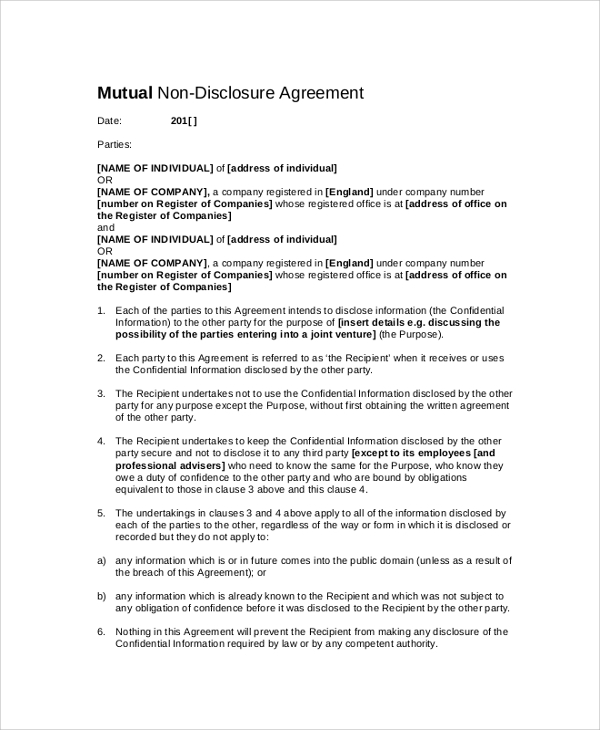 mutual confidentiality clause sample