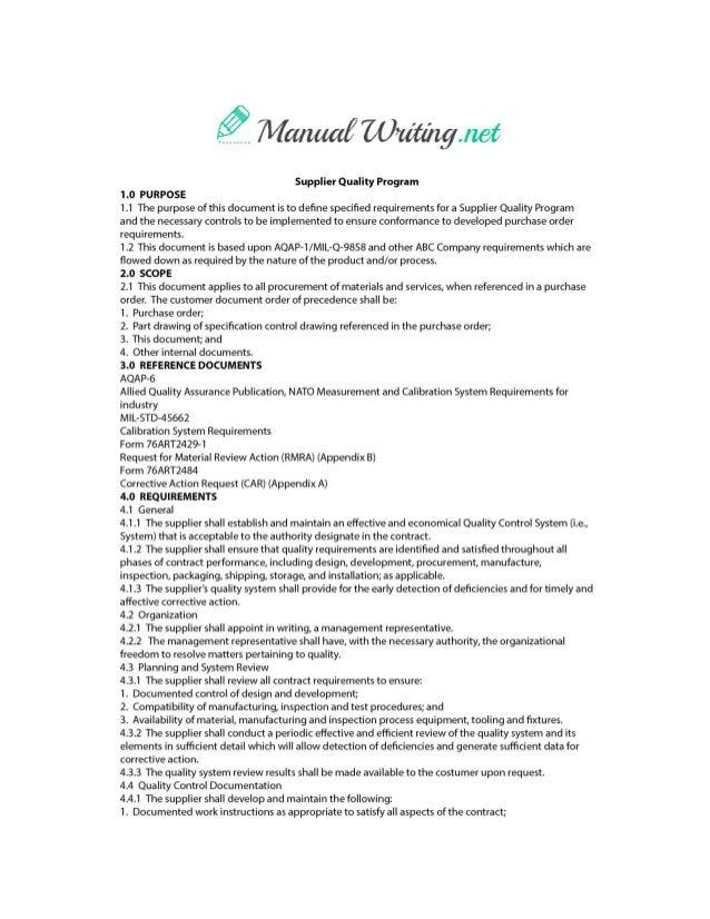 operation manual format