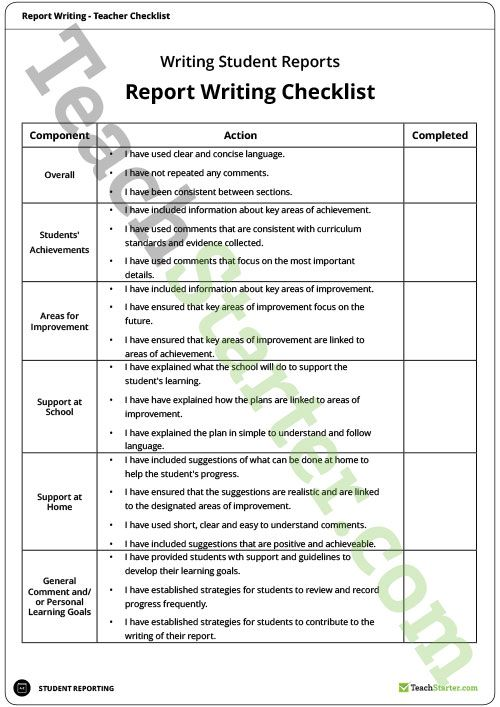report writing sample for students