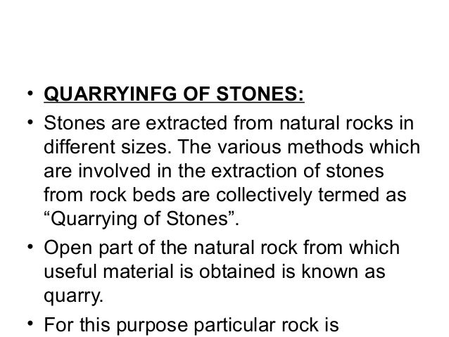 methods of quarrying of stones pdf