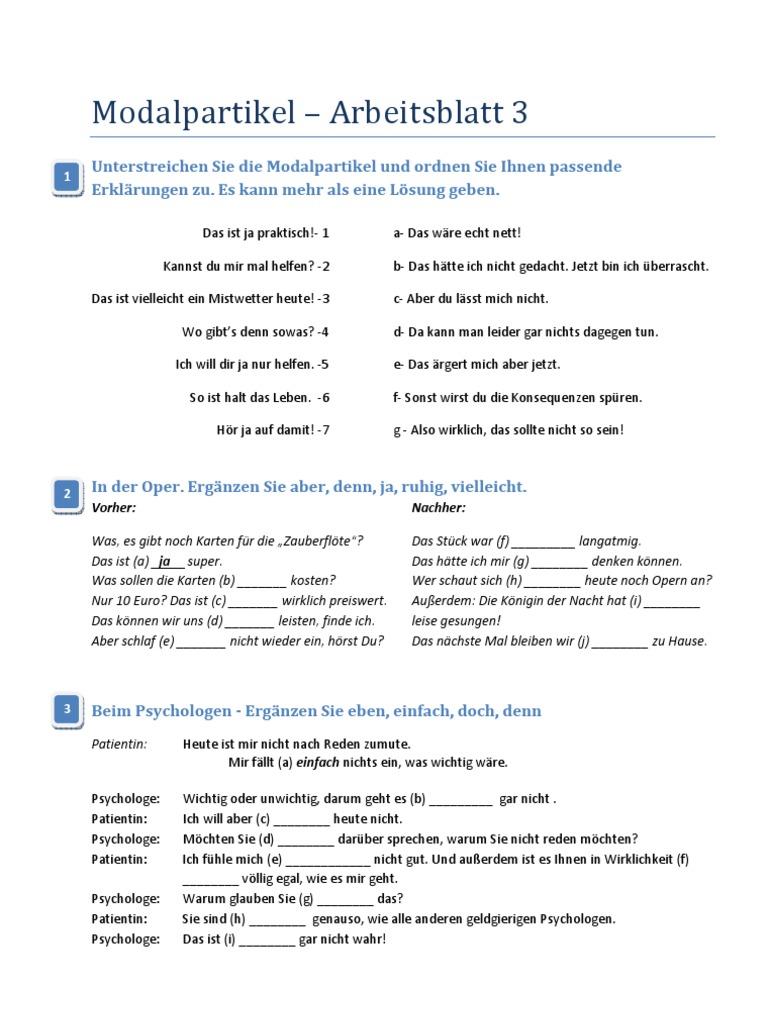 modalpartikeln übungen pdf