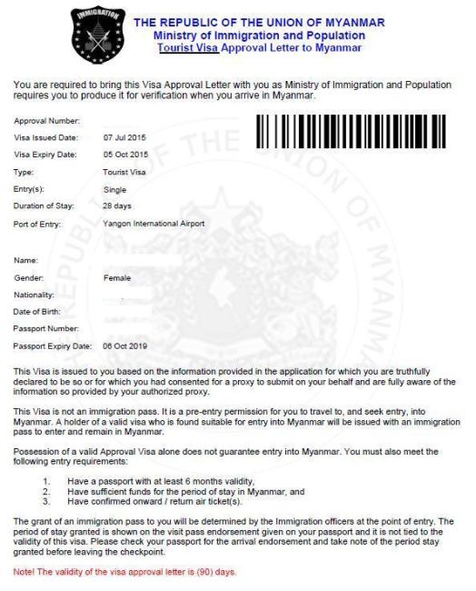 myanmar visa online application singapore