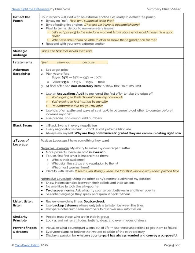 never split the difference summary cheat sheet pdf