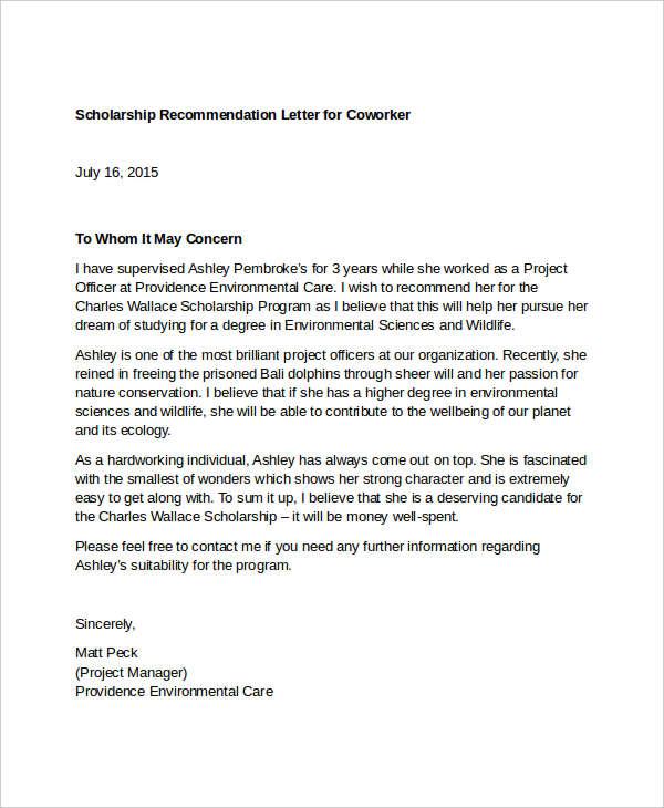 nomination letter sample for coworker