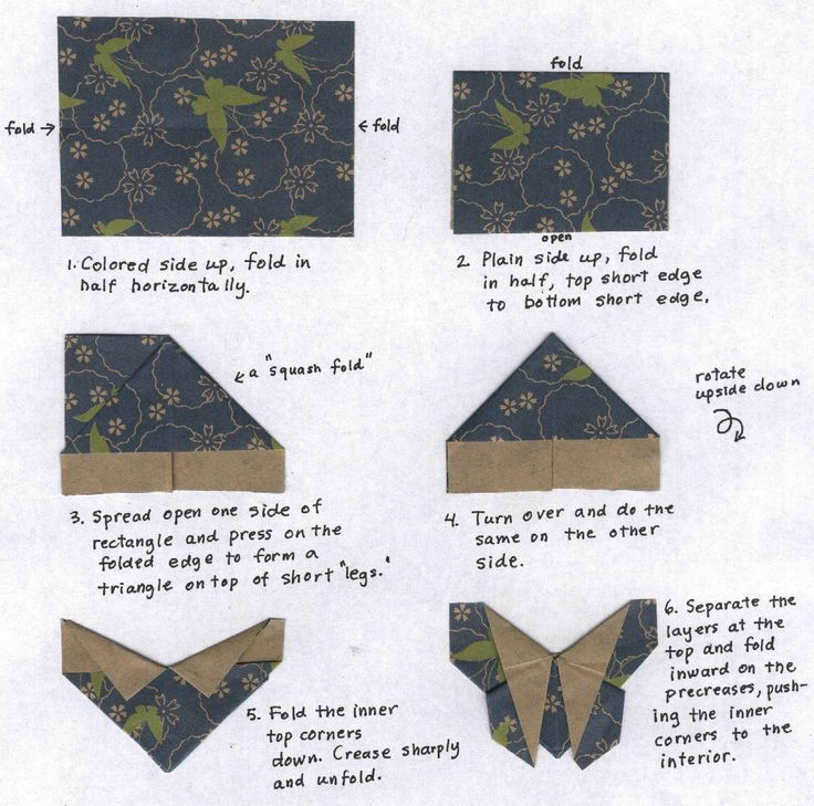 origami butterfly fabric instructions