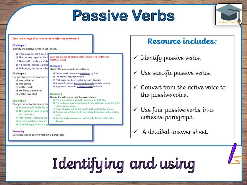 passive verbs list pdf