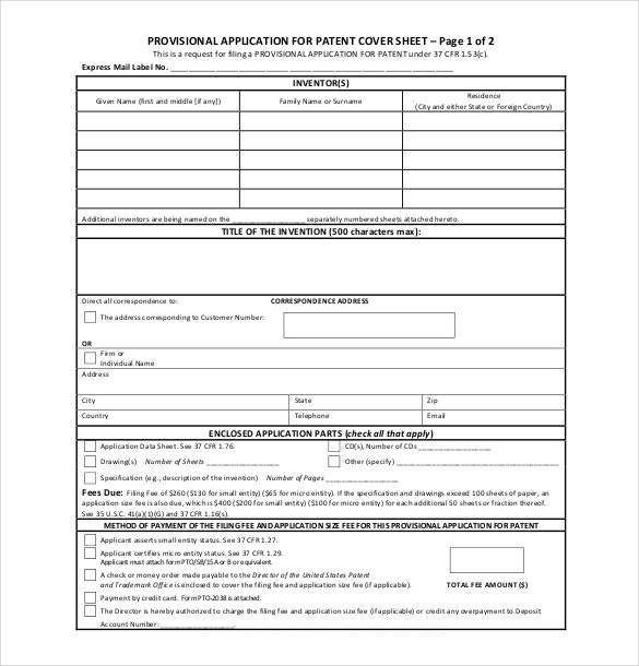 patent application form pdf