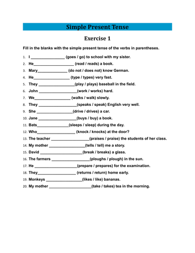 present simple exercises pdf with answers