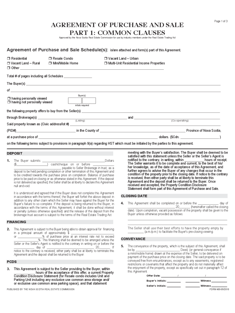 real estate purchase and sale agreement pdf