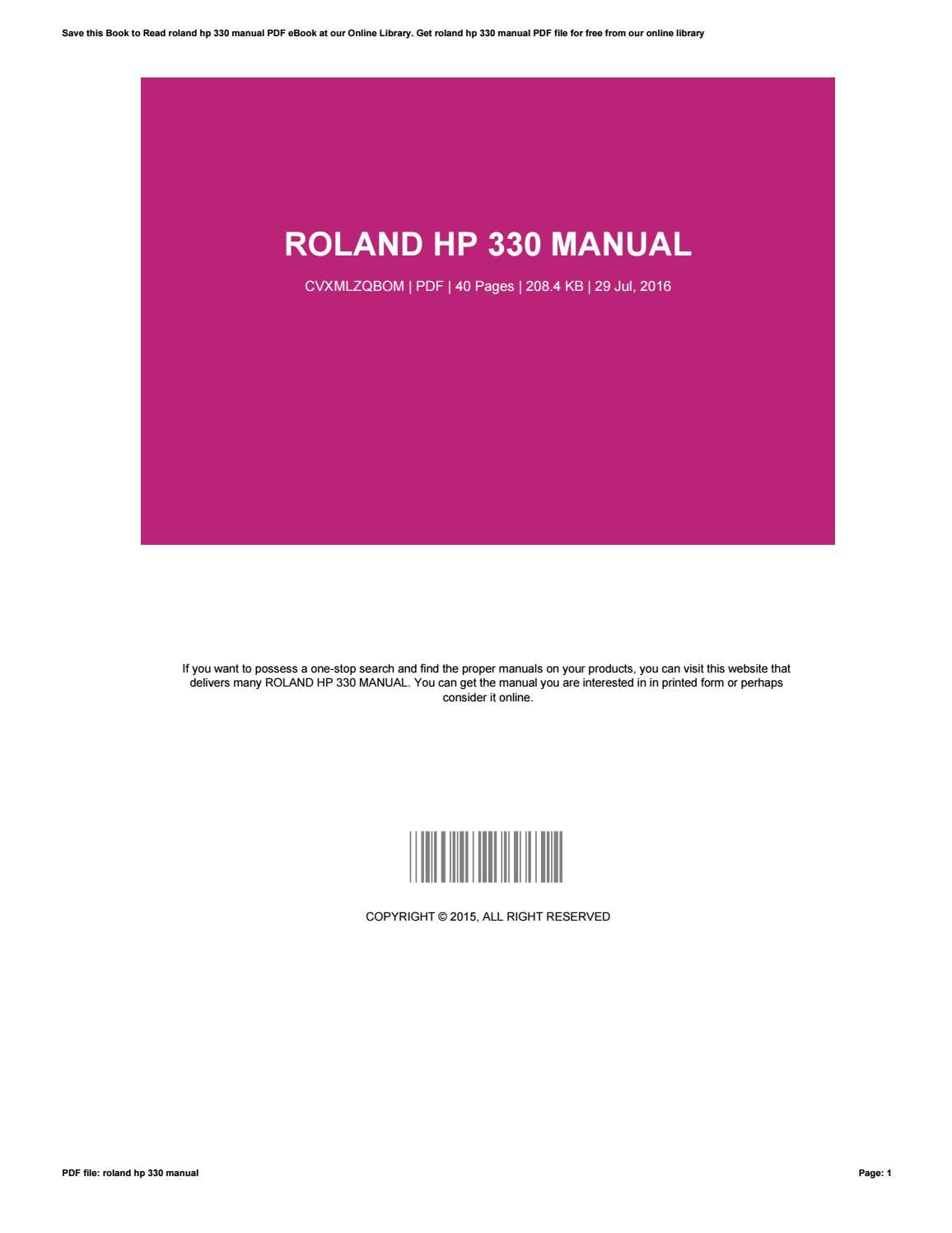 roland hp 330 service manual