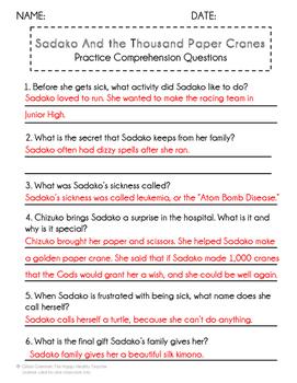 sadako and the thousand paper cranes activities pdf