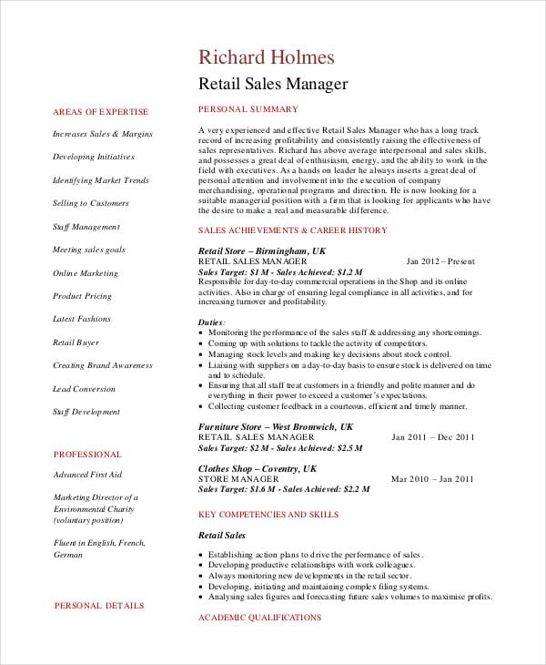 sales manager resume pdf