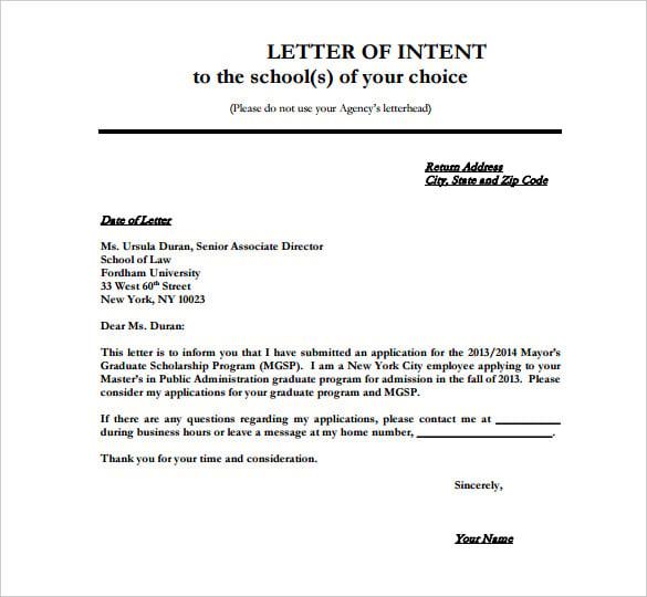 sample letter of intent for undergraduate admission