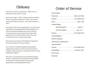 sample obituary program for mother