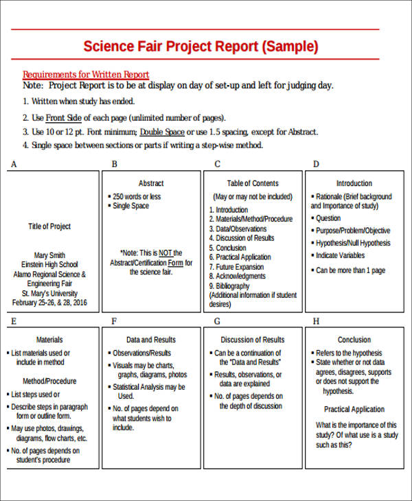 sample of project report writing