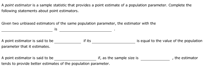 sample point estimate