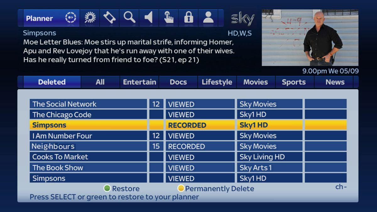 sky television guide