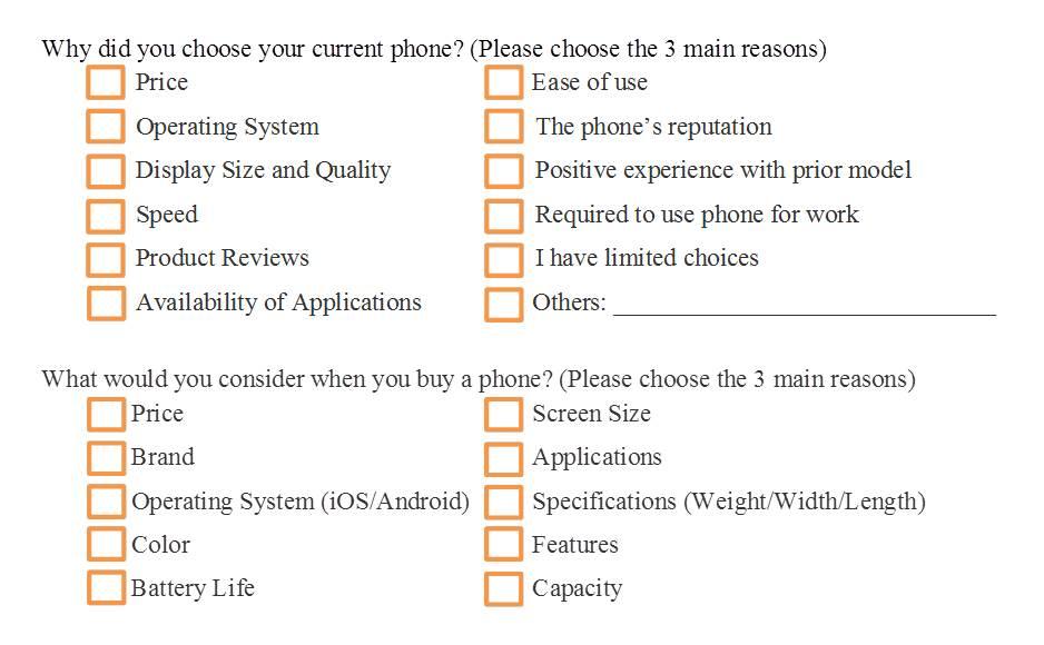 smartphone questionnaire survey sample