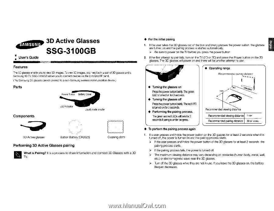 ssg 5100gb 3d active glasses user manual pdf