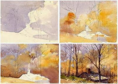 step by step landscape painting instruction