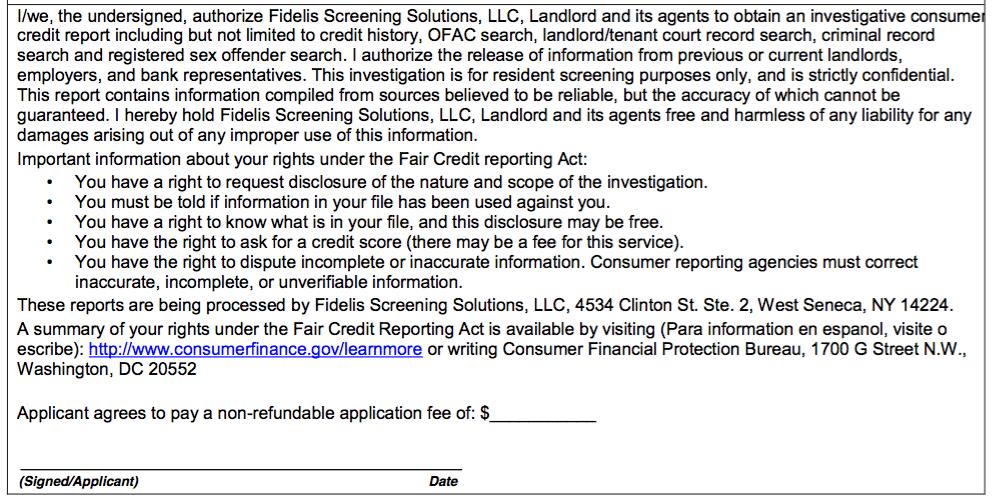 tenant screening application form