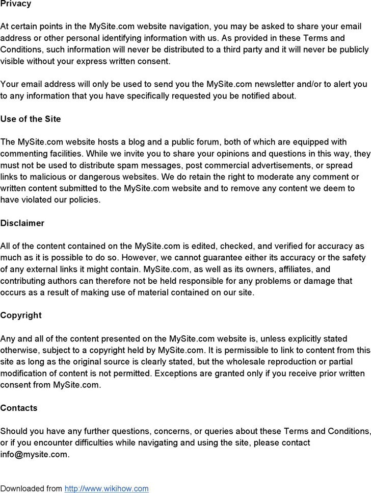 terms and conditions sample html