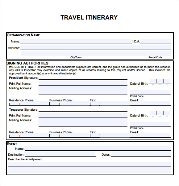 travel itinerary pdf