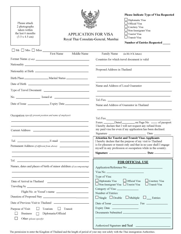 visa application form thailand nz