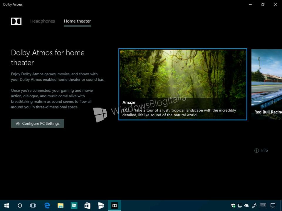 windows 10 route audio of single application to di