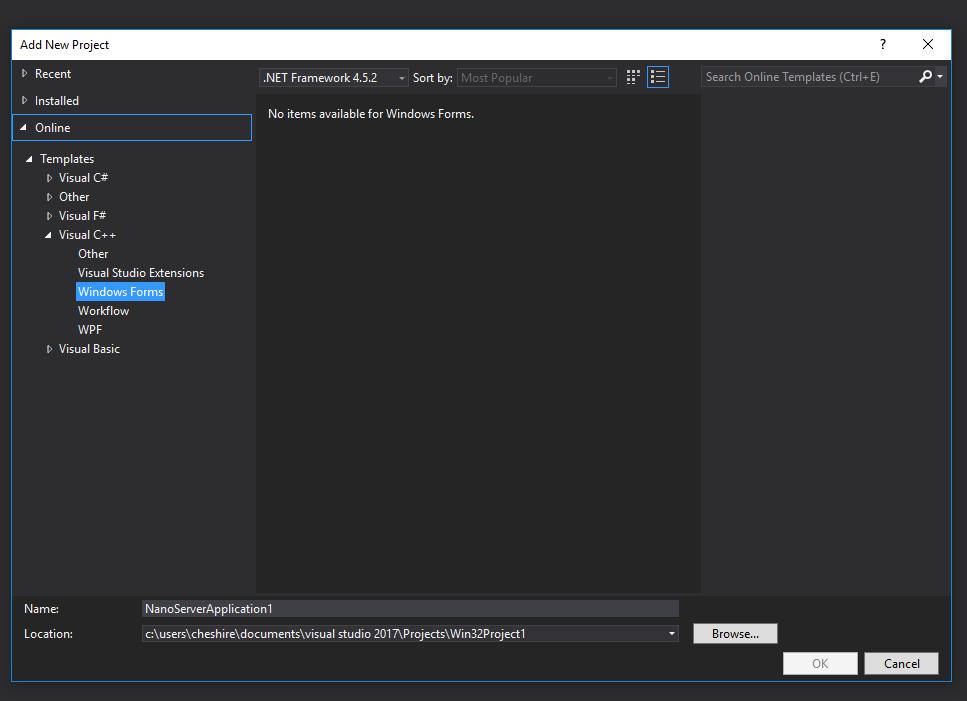 windows form application visual studio 2017 c++