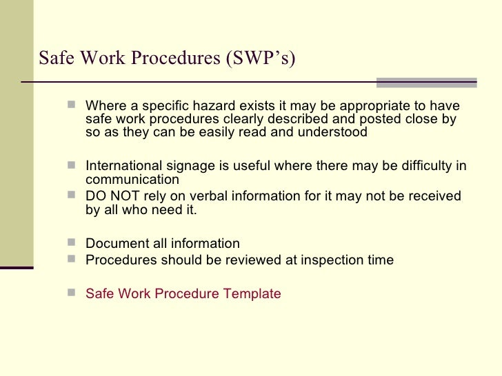 workplace procedure sample